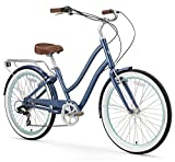 sixthreezero EVRYjourney Women's 7-Speed Step-Through Hybrid Cruiser Bicycle, Navy