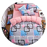 Heart to hear-pillowcase-and-sheet-sets Grey Bedding Set Summer Bed linens 3or 4pcs Set Duvet Cover Set Pastoral Bed Set Kids Adult Bedding Bedclothes Queen kin,Colorful Grid,Twin