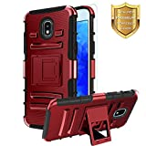 Case for Samsung Galaxy J3 2018 Case,J3 Achieve/J3 Orbit/J3 Express Prime 3/J3V J3 V 3rd Gen/Sol 3/J3 Star/Amp Prime 3/J3 Top/J3 Aura Case+Tempered Screen Protector,Heavy Duty Kickstand Case-PC-Red