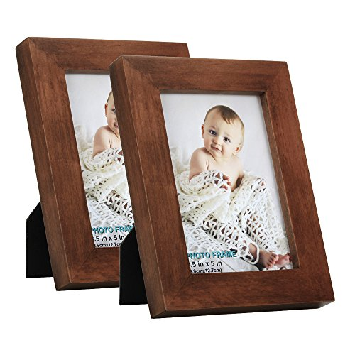 RPJC 3.5x5 Picture Frames (Set of 2) Made of Solid Wood High Definition Glass for Table Top Display and Wall mounting Photo Frame Brown