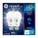 GE Lighting Reveal HD LED 9-watt (60-watt Replacement), 650-Lumen A19 Light Bulb with Medium Base, 2-Pack - 98877