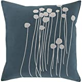 Surya LJA003-1818D Down Fill Pillow, 18-Inch by 18-Inch, Teal/Light Gray