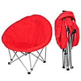 Yescom Folding Saucer Padded Moon Chair Comfort Lounge Bedroom Garden Furniture Red Seat