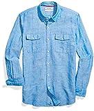 Goodthreads Men's Standard-Fit Long-Sleeve Linen and Cotton Blend Shirt, Bright Blue, X-Large