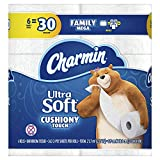 Charmin Ultra Soft Cushiony Touch Toilet Paper, 6 Family Mega Rolls = 30 Regular Rolls, Prime Pantry