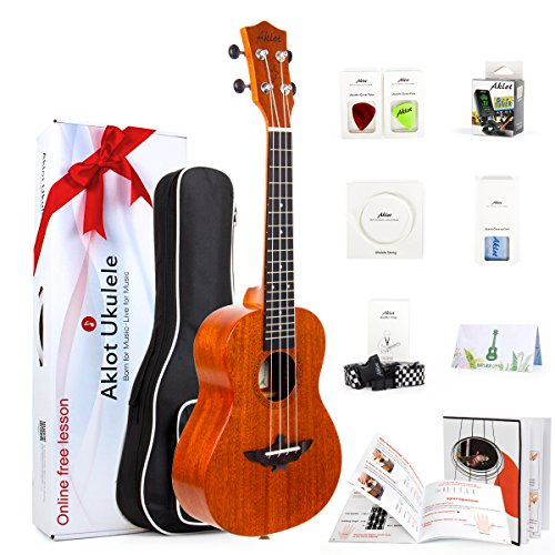 Ukulele Solid Mahogany 23 Inch Concert Uke With Free Online Course 8 Packs Beginner Starter Kit (Gig Bag Picks Tuner Strap String Cleaning Cloth Instruction Book)