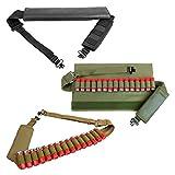 Padded Shoulder 2 Two Point Shotgun Bandolier Sling Holds 15 Shotshells Sling Swivels Elastic Band 10 12 20 Gauge GA (Black)