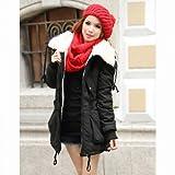 Winter Women's Lady Fleece Parka Coat Zip Overcoat Long Jacket Warm Black by serviceUNO