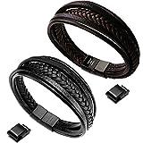 murtoo Leather Bracelet Magnetic-Clasp Cowhide Braided Multi-Layer Wrap Mens Bracelet, 7.1''-8.7''