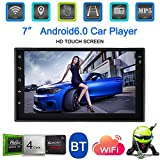 KKmoon Universal 7 Inch Smart Android 6.0 2 Din Car Stereo Radio Player GPS Navigator Multimedia Entertainment with BT WiFi AM/FM with American Map