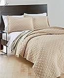 Martha Stewart Collection Taupe Oat Queen Bedspread Quilted Quilt Beige Linen Mix