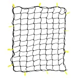 OrionMotorTech 3'x4' to 6'x8' Heavy Duty Latex Cargo Net with 12 Tangle-Free D Clip Carabiners + 12 Nylon Hooks, Small 4'x4' Mesh, 5mm Cord, for Pickup Truck Bed and SUV Rooftop Travel Luggage Rack