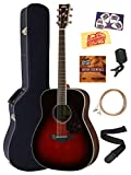 Yamaha FG830 Solid Top Folk Acoustic Guitar - Tobacco Sunburst Bundle with Hard Case, Tuner, Strings, Strap, Picks, Austin Bazaar Instructional DVD, and Polishing Cloth