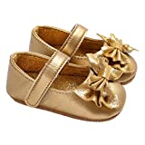 Infant Girls Shiny Sequin Bowknot Princess Dress Shoes Photography Crib Shoes Golden Size S