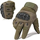 WTACTFUL Army Military Tactical Touchscreen Hard Knuckle Full Finger Gloves for Outdoor Motorcycle Cycling Racing Hunting Hiking Airsoft Paintball Shooting Work Size Medium Green
