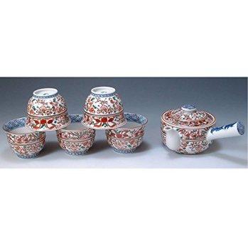 Kiyomizu-kyo yaki ware. Set of Japanese yunomi teacup and kyusu teapot horiakae kacho with wooden box. Porcelain. kymz-JSH137