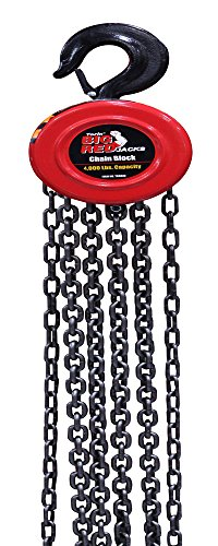 Torin Big Red Chain Block / Manual Hoist with 2 Hooks, 2 Ton (4,000 lb) Capacity (TR9020)