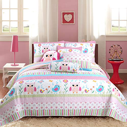 Cozy Line Home Fashions Happy Owl Pink Reversible Quilt Bedding Set, Coverlet, Bedspreads for Kids, Girls (Happy Owl…