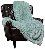 Chanasya Super Soft Shaggy Longfur Throw Blanket | Snuggly Fuzzy Faux Fur Lightweight Warm Elegant Cozy Plush Sherpa Microfiber Blanket | for Couch Bed Chair Photo Props - 60'x 70' - Aqua Turquoise