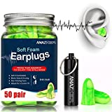 AMAZKER Ear Plugs Anti-Noise Soft Quiet Sleeping Earplugs With Aluminum Carry Case No Cords Noise Reduction Perfect For Study Sleeping Working Travel Snoring SNR 35dB 50 Pairs (Brilliant Green)
