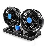 Electric Car Fan, Dual Head 2 Speed 12V Cooling Air Circulator - 360 Degree Rotatable Auto Fan for Sedan SUV...