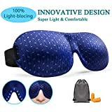Sleep Mask, 3D Contoured Sleep Eye Mask, Comfortable & Super Soft Sleeping Mask with Adjustable Straps for Women, Men, Luxury Pattern Eye Mask for Sleeping with Ear Plugs Carry Pouch for Travel Naps