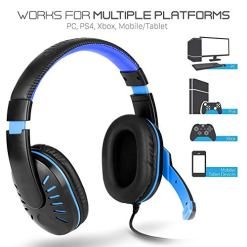 51PyhXtghhL - Aubess for PS4/Xbox One/PC/Nintendo Switch Gaming Headset Stereo Wired Clarity Noise Reduction Headphone with Mic-Sound LED Light (Blue)