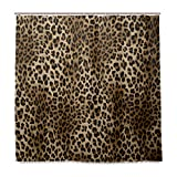Naanle Animal Tiger Print Shower Curtain Home Decor, Wild Tiger Leopard Print Waterproof Polyester Fabric Bathroom Shower Curtain Set with Hooks, 72 X 72 Inches