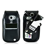 Turtleback Fitted Case for Doro PhoneEasy 626 Flip Phone Black Leather Rotating Removable Metal Belt Clip Made in USA