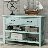 P PURLOVE Console Table Buffet Table Sofa Table with Drawers and 2 Tiers Wood Shelf (Retro Blue)