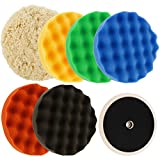 TCP Global Ultimate 6 Pad Buffing and Polishing Kit with 6-8' Pads; 5 Waffle Foam & 1 Wool Grip Pads and a 5/8' Threaded Polisher Grip Backing Plate