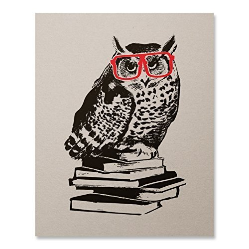 Hipster Owl Art Print Book Lover Literature Nerd Red Glasses Animal Poster Harry Potter Inspired Home Decor 8 x 10 inches