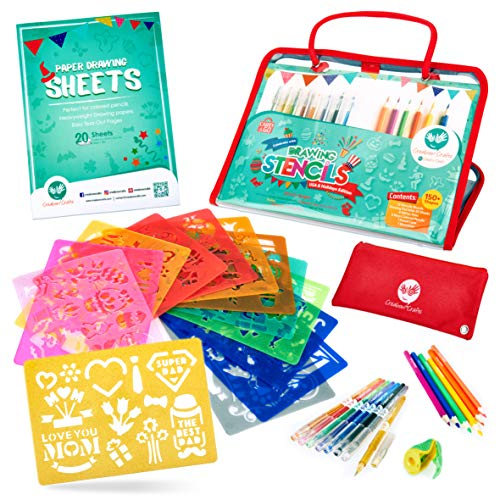 Holiday Stencils and Colored Pencils Arts and Crafts Set (USA Edition), 150+ Unique Reusable Designs for Christmas, Valentine's Day, Mother's Day and More, BPA-Free - for Kids Ages 4+