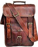 jaald 15' Men's Genuine Leather Messenger Bag Laptop case Vertical Satchel Shoulder Bag Distressed Crossbody Bag