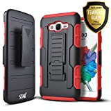 Samsung Galaxy J7 Neo J701M Case, Galaxy J7 Nxt J701F Case, J7 Core J701 Case, with [Tempered Glass Screen Protector Included] Starshop [Armor Holster] Dual Layers Kickstand Belt Clip Phone Cover-Red