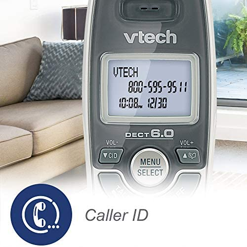 VTech CS6114 DECT 6.0 Cordless Phone with Caller ID/Call Waiting, White/Grey with 1 Handset 13