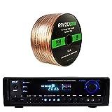 Pyle PT390BTU Bluetooth Digital Home Theater 300-Watt Stereo Receiver, with Enrock Audio 16-Gauge 100 Foot Speaker Wire