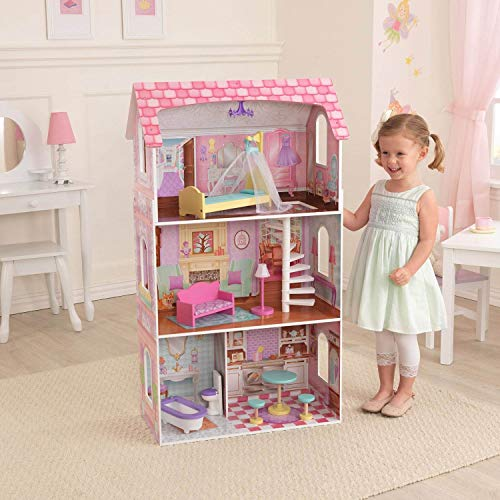 KidKraft Penelope Wooden Pretend Play House Doll Dollhouse Mansion with Furniture
