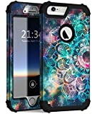 Hocase iPhone 6s Plus Case, iPhone 6 Plus Case, Heavy Duty Shockproof Protection Hard Plastic+Silicone Rubber Protective Case for iPhone 6 Plus/6s Plus w/ 5.5' Display - Mandala in Galaxy