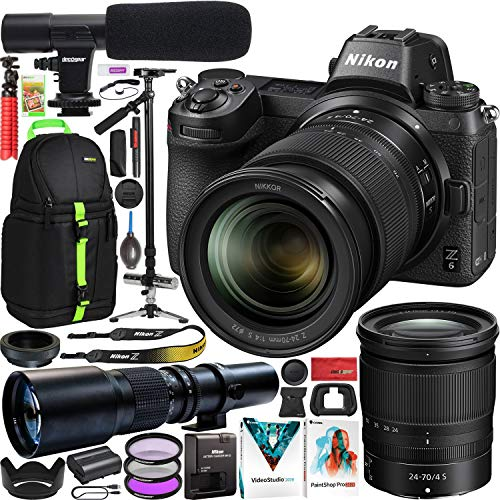 Nikon-Z6-Full-Frame-Mirrorless-Camera-Body-Filmmakers-Bundle-with-24-70mm-F4-Lens-Kit-Deco-Photo-500mm-F8-Telephoto-Lens-Vivitar-ST-6000-Stabilizer-Tripod-Microphone-Backpack-and-Accessories