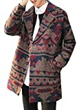 Product review for Pivaconis Mens Casual Wool Blend Pea Coat Print Two Button Lapel Overcoat