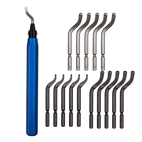Acrux7 Metal Deburring Tool Kit, 15pcs Rotary Deburr Blades Set with Handle Debur Knife, Great Burr Remover Hand Tool for Wood, Plastic, Aluminum, Copper and Steel (Blue)