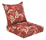 Bossima Indoor and Outdoor Cushion, Comfortable Deep Seat Design, Premium 24 inch Replacement Cushion, Includes Seat and Backrest, Red/Brown Floral