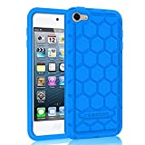 Fintie iPod Touch 6th Generation Case - [Shock Proof] Anti Slip [Honey Comb Series] Silicone Protective Case Cover [Kids Friendly] for Apple iPod Touch 6 / iPod Touch 5, Blue