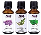 3-Pack Variety of NOW Essential Oils: Tea Tree, Eucalyptus, Lavender