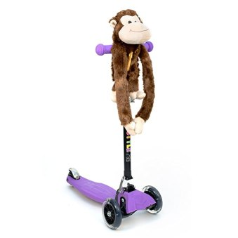 3Style Scooters - Accessory - ZoomiBuddi Funky Monkey Plush Teddy Toy - Suitable For Bikes, Scooters, Trikes & More - Wrap Round with Secret Storage Zip Pocket - A Great Adventure Buddy