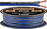 InstallGear 10 Gauge Speaker Wire - 99.9% Oxygen-Free Copper (OFC) - Blue/Black (50-feet)