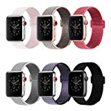 penen for Apple Watch Band 38mm 42mm Soft Nylon Watch Sport Loop Band Adjustable Closure Wrist Strap Breathable Woven Nylon Replacement Strap for Apple Watch Series 3,2,1 (6 Colors, 38 mm)