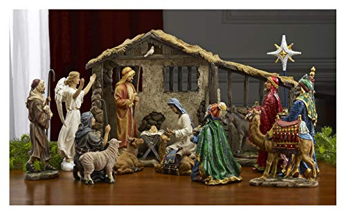 16 Piece Deluxe Edition Christmas Nativity Set with Real Frankincense Gold and Myrrh - 10 inch Scale