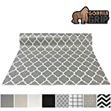 Gorilla Grip Original Smooth Top Slip-Resistant Drawer and Shelf Liner, Non Adhesive Roll, 17.5 Inch x 20 FT, Durable Kitchen Cabinet Shelves, Liners for Kitchens Drawers, Quatrefoil White Gray